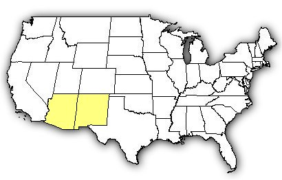 Map of US states the Reticulated Gila Monster is found in.