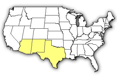 Map of US states the Banded Rock Rattlesnake is found in.