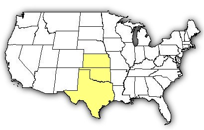 Map of US states the Broad-Banded Copperhead is found in.