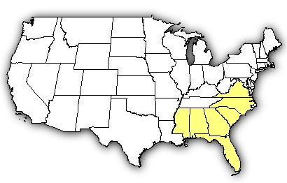 Map of US states the Eastern Cottonmouth is found in.