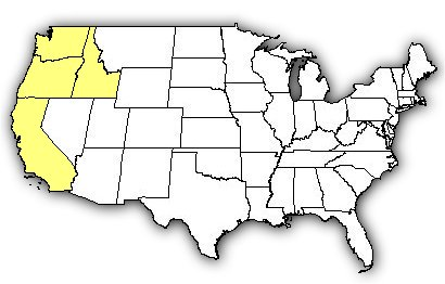 Map of US states the Northern Pacific Rattlesnake is found in.