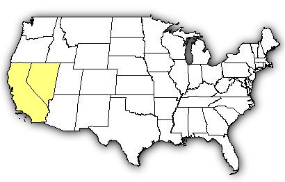 Map of US states the Panamint Speckled Rattlesnake is found in.
