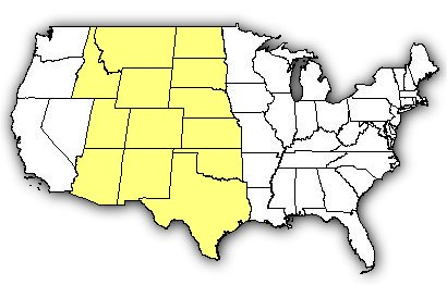 Map of US states the Prairie Rattlesnake is found in.