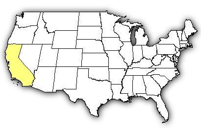 Map of US states the Red Diamond Rattlesnake is found in.