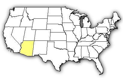 Map of US states the Sonoran Desert Sidewinder is found in.