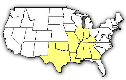 Map of US states the Western Cottonmouth is found in.