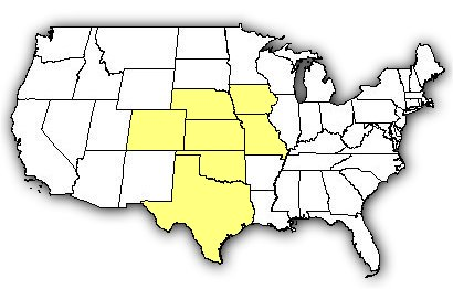 Map of US states the Western Massasauga is found in.
