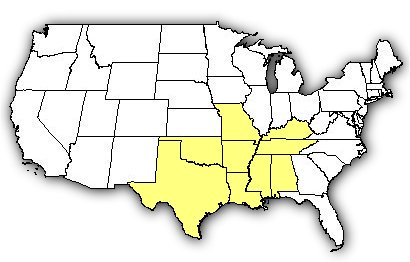 Map of US states the Western Pygmy Rattlesnake is found in.
