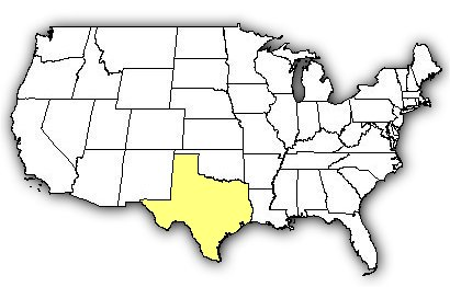 Map of US states the Texas Recluse is found in.