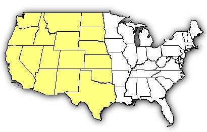 Map of US states the Western Black Widow is found in.